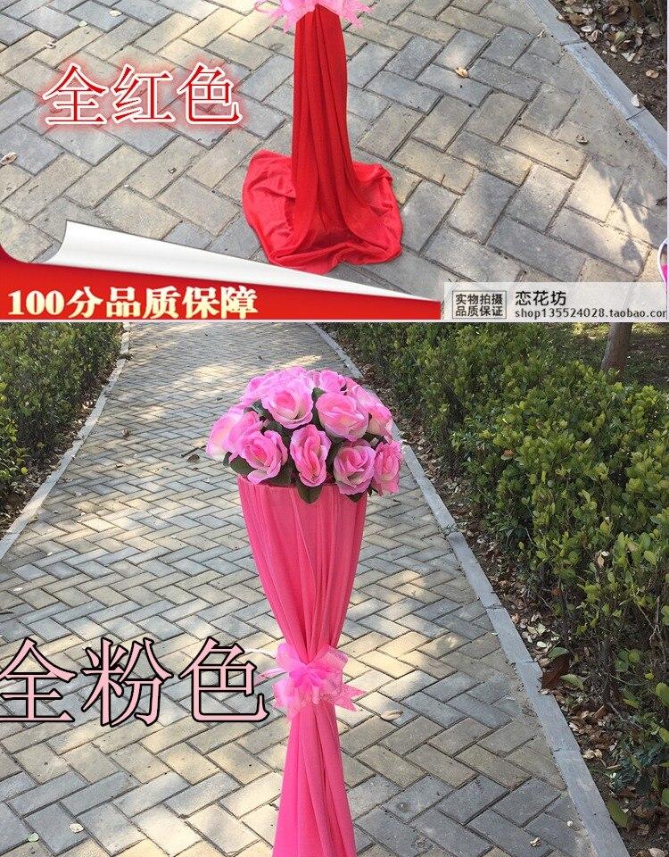 6 pcsThe nouveau Style de fleur de mariage de route pour célébrer l'ouverture des fleurs de soie a conduit le chemin des fleurs