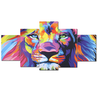 Frameless 5pcs Modern Canvas Painting Lion Pattern Colorful DIY Painting By Numbers Unique Gift Modern Wall