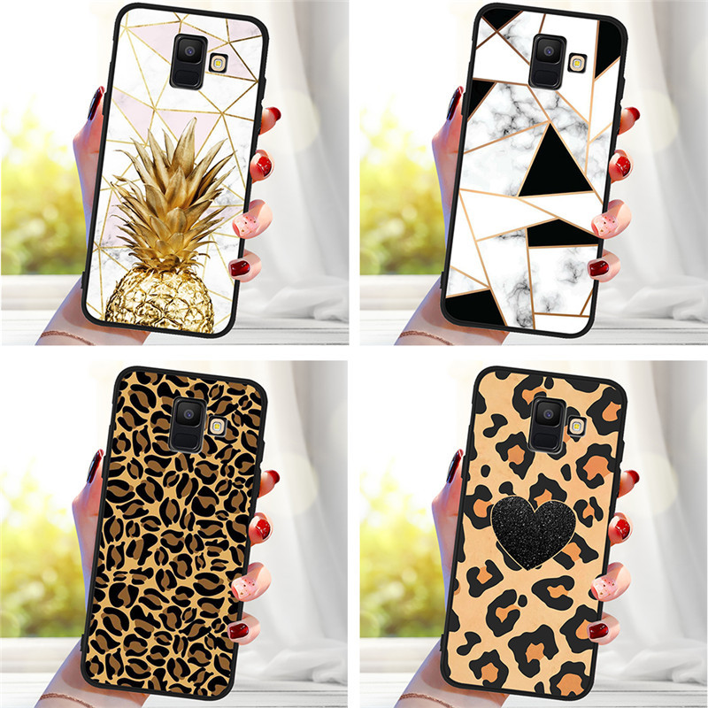 Leopard marble For Samsung Galaxy A9 A8 A7 A6 A5 A3 J3 J4 J5 J6 <font><b>J8</b></font> Plus 2017 2018 M30 A40S A10 A20E phone Case Cover Coque Etui image