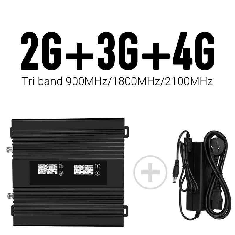 Fréquence mondiale! écran LCD! amplificateur de répéteur de signal mobile intelligent tribande 900/1800/2100 mhz vitesse 2g/3g 4g