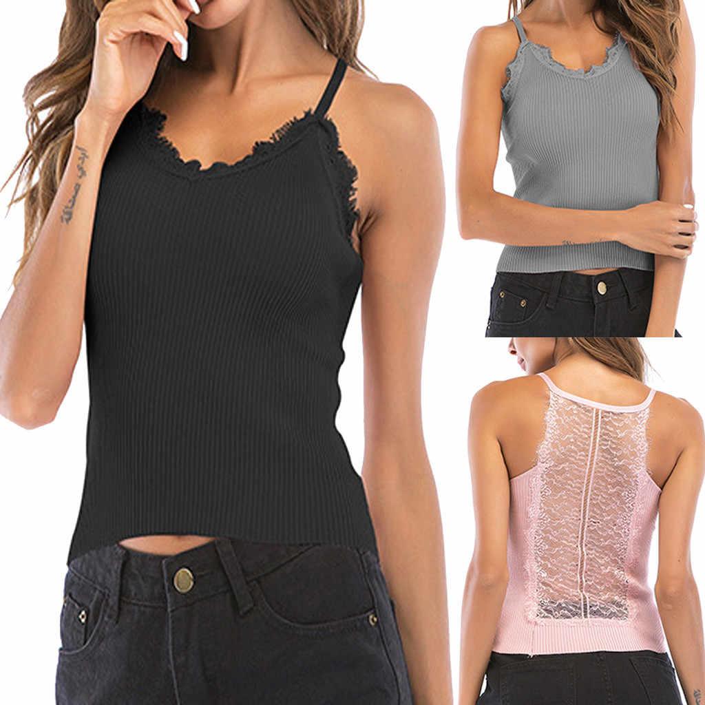 티셔츠 여성 티셔츠 섹시한 레이스 캐미솔 니트 민소매 탑 티셔츠 여성 티셔츠 mujer verano 2019 Dropshipping # A35