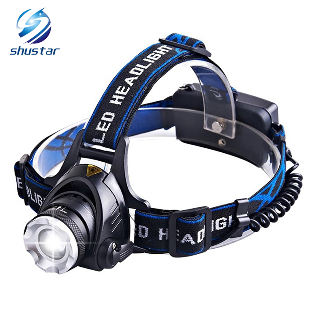 6000 Lumens Led headlamp CREE XML-T6/L2 Led headlight 4 modes zoom Waterproof Head lamp Fishing Hunting Use 2 18650 batteries