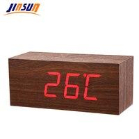 JINSUN Modern Wooden Clock Led Digital Alarm Clocks Table Clock Voice Control Reloj despertador Wekker