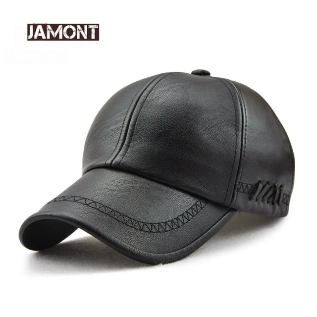 19caeabc8cb2ad Jamont Mens Leather Baseball Cap Classic Curved Brim Snapback Hat Autumn  Winter Warm Caps Adjustable Bone Masculino Fitted Hats