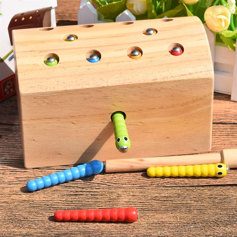 Free shipping Kids Wooden magnetic fishing insect game caterpillar shape matching Baby childhood education wooden toy in Model Building Kits from Toys Hobbies