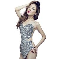 2015 Women Sexy One Piece Silver Flower Sequins Bandage Female Singer DJ Stage Nightclub Costume Apron