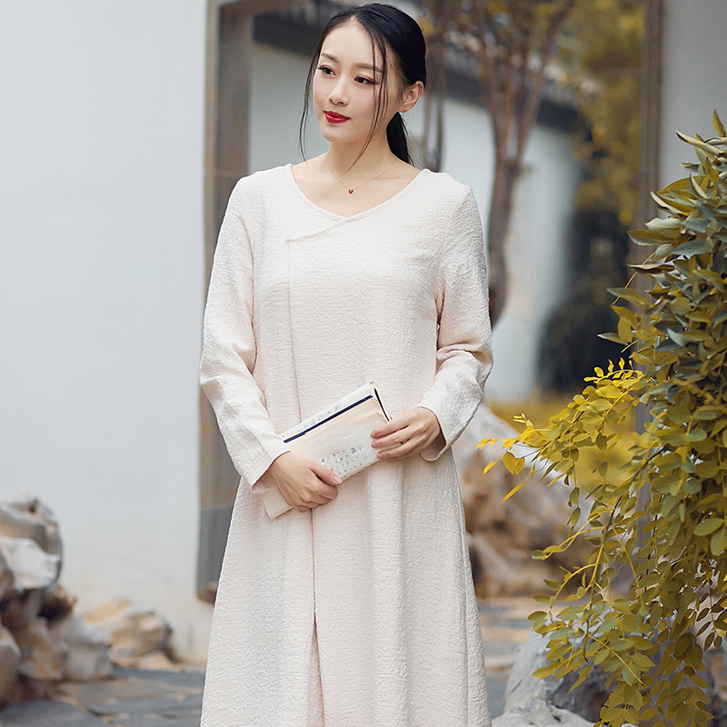 Lin Style Nouveau Service Lâche Grande Coton Zen Littéraire jaune Thé  Chinois Blanc Robe Féminine Taille Printemps B5xwqR 5ccba9116e7