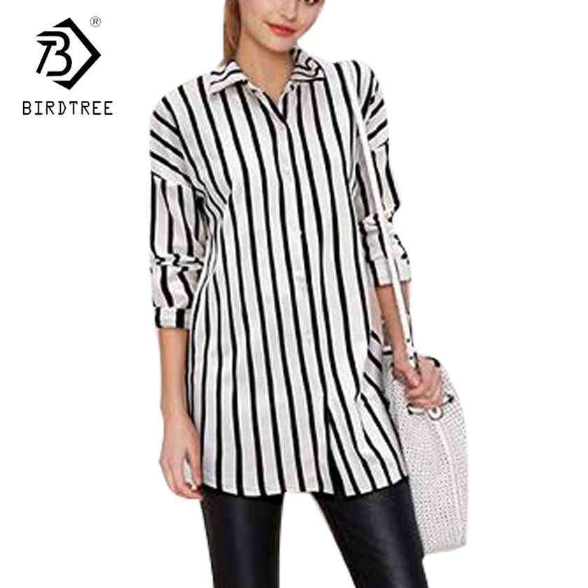 5XL Plus Size Women Sweet White Gray Black Striped Loose Shirts Long Sleeve Turn Down Collar Blouses Lady Brand Tops Hot T7D202L