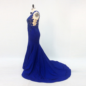 Image 4 - One Shoulder Long Elegant Evening Dresses Mermaid with Sleeves Beaded Royal Blue Formal Dresses Saudi Arabic Evening Party Gown