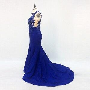 Image 4 - Une épaule longue élégante robes de soirée sirène avec manches perlées bleu Royal robes formelles saoudien arabe robe de soirée