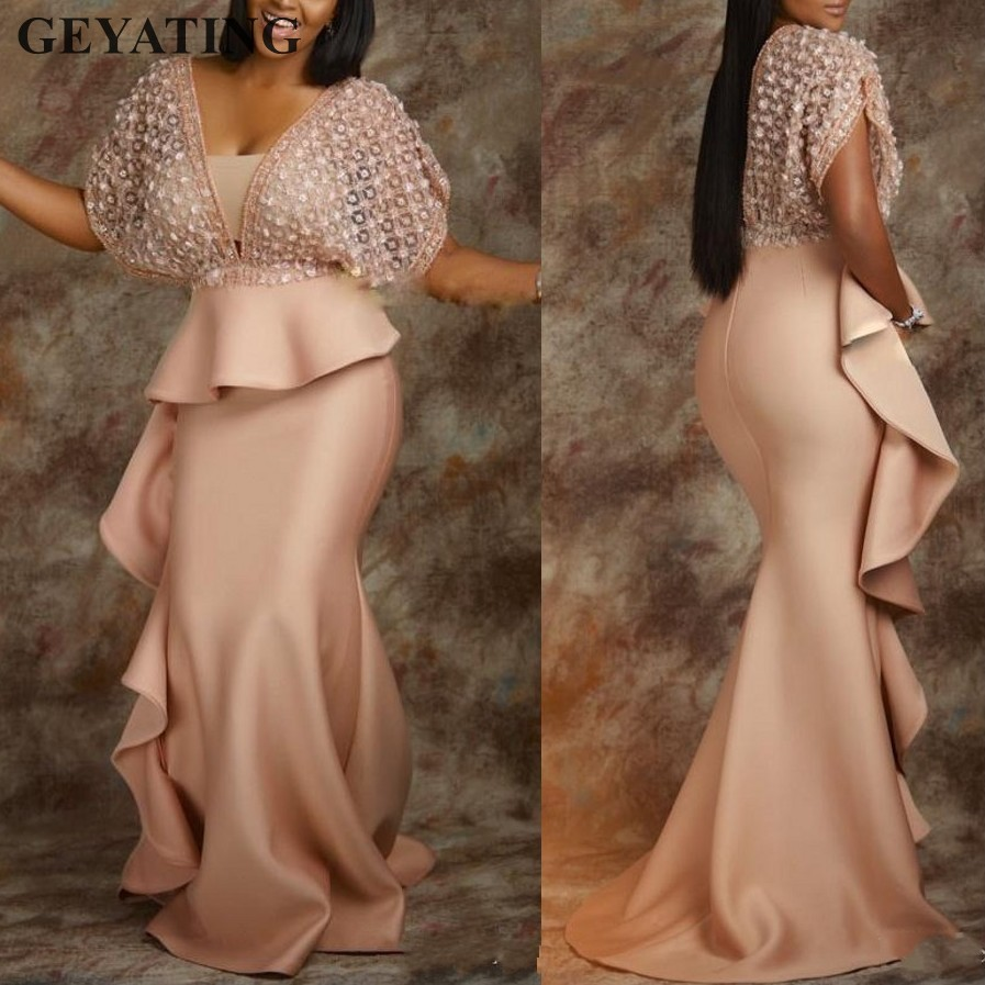 Champagne Abiye Long Mermaid African   Evening     Dress   with Sleeves Peplum Ruffles Plus Size Women Formal Prom   Dresses   2019 Elegant