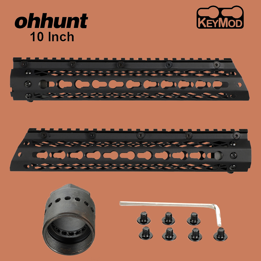 ohhunt Tactical 10 Inch Free Float Picatinny Weaver Rail Keymod <font><b>Handguard</b></font> with Steel Barrel Nut for <font><b>AR</b></font>-<font><b>15</b></font> M16 Rifle Mounts image