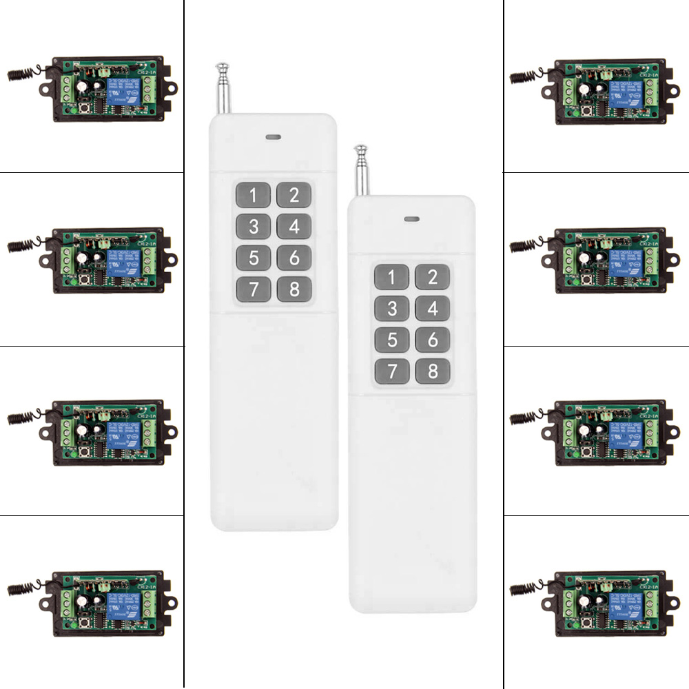 3000m High Power DC 9V 12V 24V 1 CH 1CH RF Wireless Remote Control Switch System,8CH Transmitter +Receiver,Momentary 9v 12v 24v 1ch rf wireless remote control lighting switch system transmitter receiver 1ch relay smart home