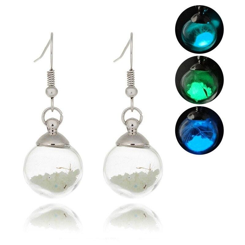 Hainon Real Dandelion Glass Ball Earrings For Women Girl Drop Earrings Luminous Jewelry Glow in The Dark Dangle earring