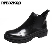 Обувь на высокой платформе; мужские ботинки; зимние качественные ботинки «Челси» с натуральным лицевым покрытием; черные стильные ботинки