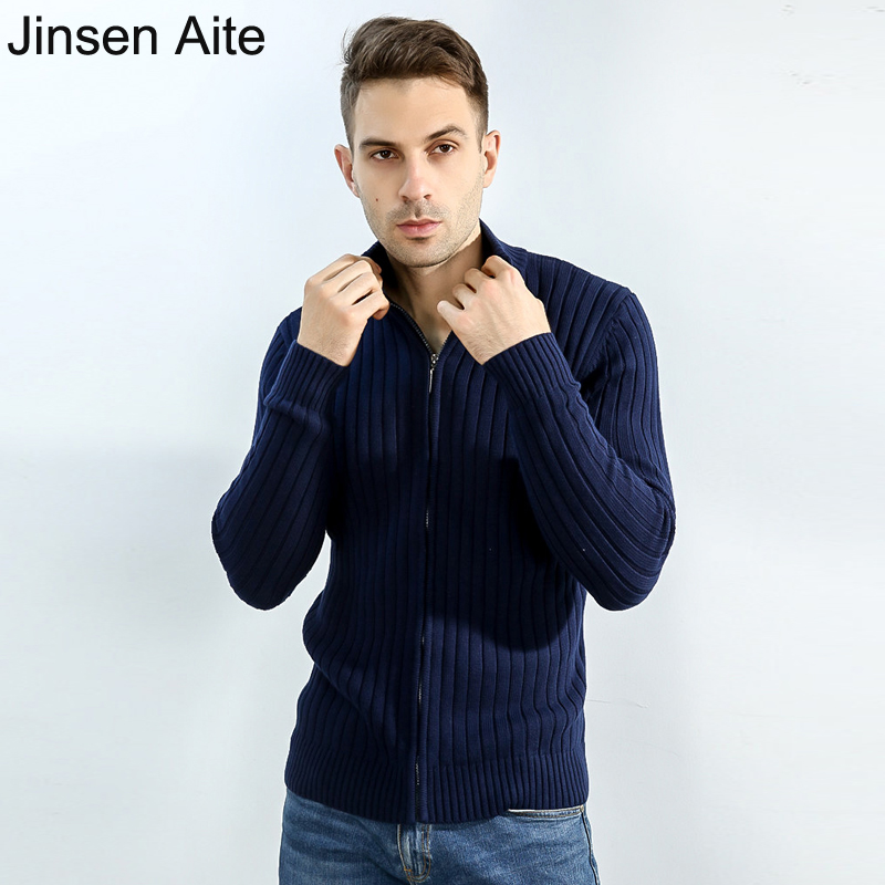 Jinsen Aite 7XL Plus Size Cotton 2020 Autumn Winter Sweater Cardigan Men Mandarin Collar Solid Zipper Male Knitted Coat JS655