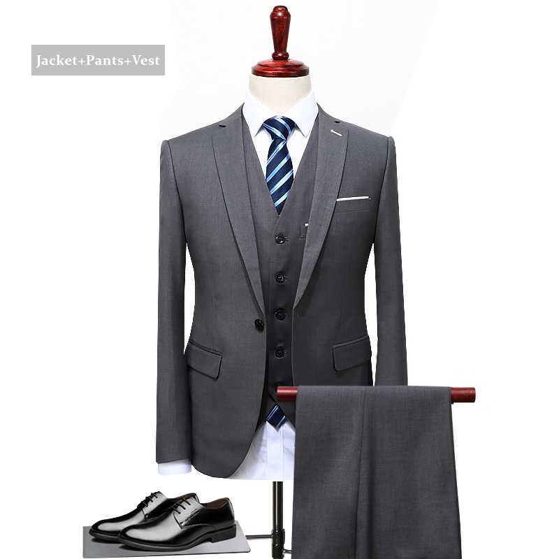 黒青グレースーツ男性 2019 スリムフィット新郎の結婚式のスーツブランド服高品質の正式なビジネススーツ