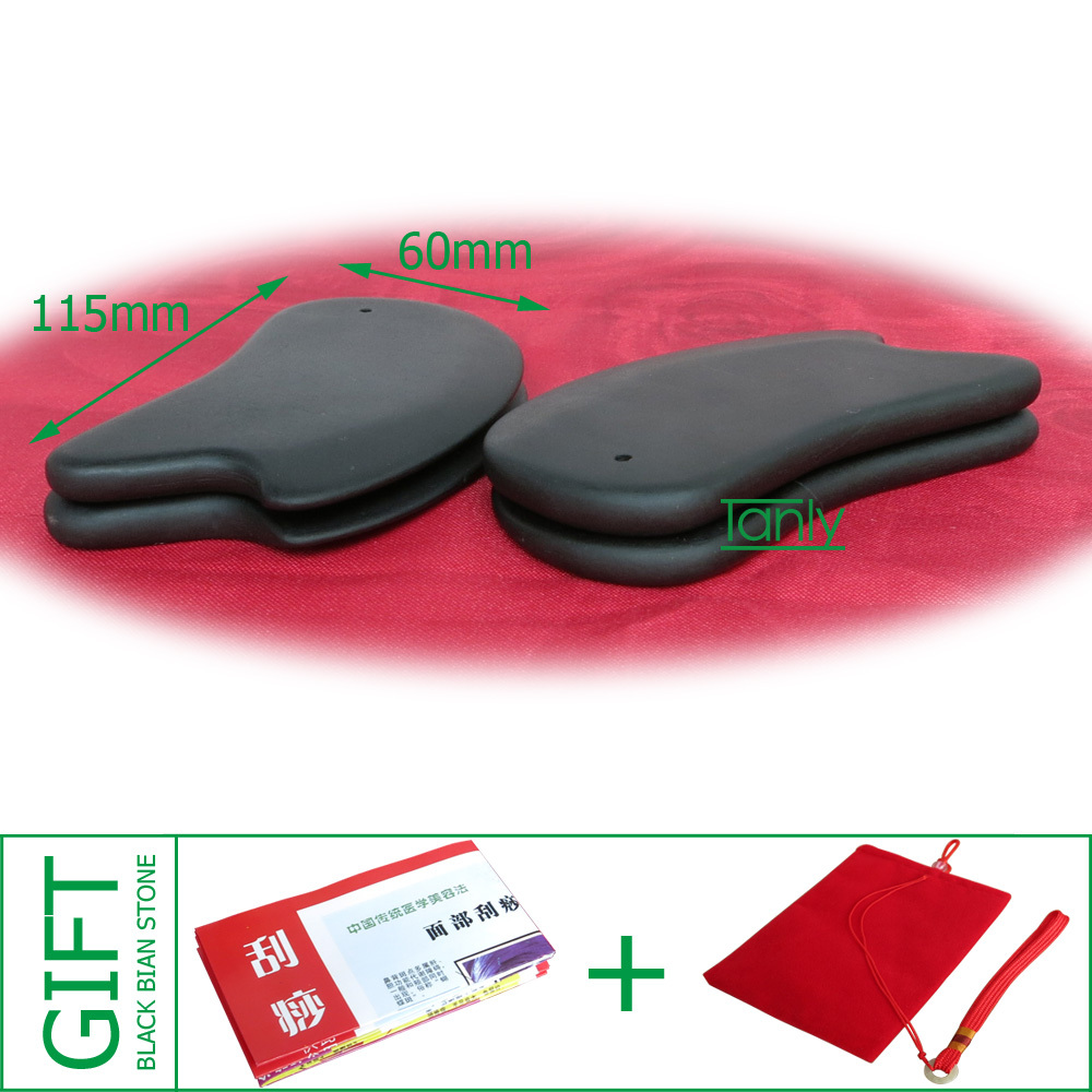 Good quality! Wholesale & Retail Traditional Acupuncture Massage Guasha plate beauty face tool Natural Black Bian Stone 115X60 wholesale and retail traditional acupuncture massage tool natural 5a red yellow bian stone guasha board 100x60x8mm scrapping