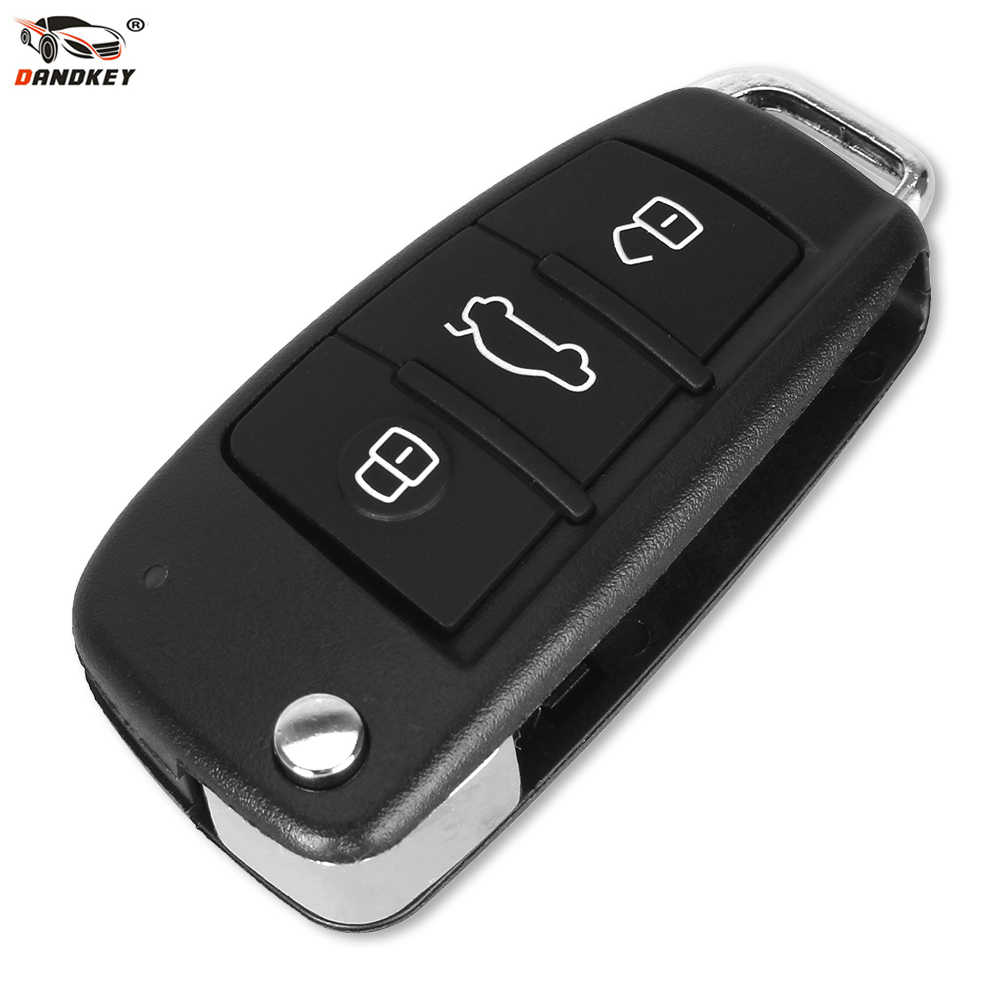 DANDKEY Folding Flip Remote Car Key Shell Case 3 Button Case For AUDI A6 For VW For Pasha for Bora for Skoda For Seat No Blade
