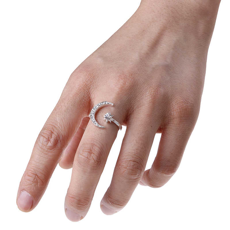 Модные кольца с Луной и звездой женские свадебные украшения открытое регулируемое кольцо подарок 3 цвета