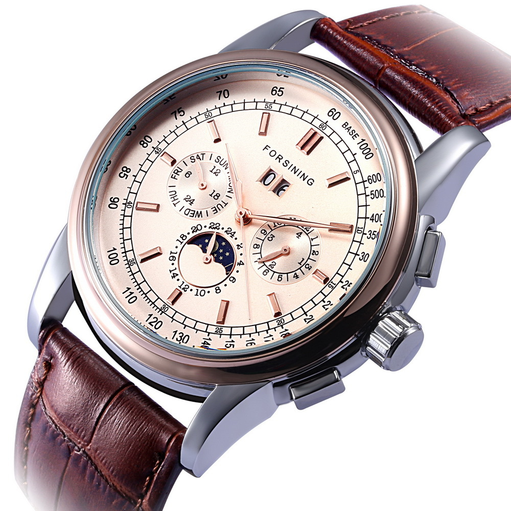 FORSINING Mechanical Watch Fully automatic Mechanical Strap Multifunctional Mens Relojes Male Relogio Masculino