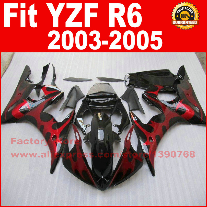 New motorcycle fairings set for 2003 2004 2005 YAMAHA YZFR6 03 04 05 YZF R6 red flame black fairing kits bodywork repair parts road race motorcycle fairings kit for yamaha r6 2003 2004 2005 yzf r6 03 04 05 black silver fairing kits bodywork part