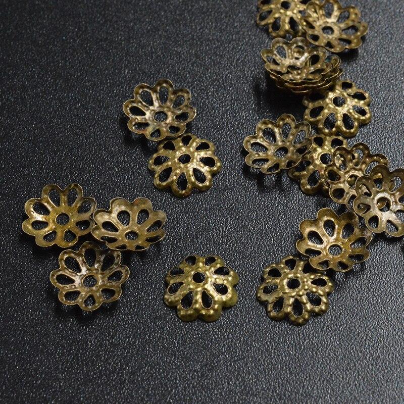 50pcs Loose Beads Caps End Caps Filigree Bead Caps Metal Findings