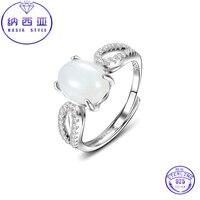 Hình bầu dục Trắng Nephrite Jade Vòng Phụ Nữ Thanh Lịch Nhẫn Prong Thiết 925 Sterling Silver Rings Cổ Điển Fine Jewelry Có Thể Điều Chỉnh