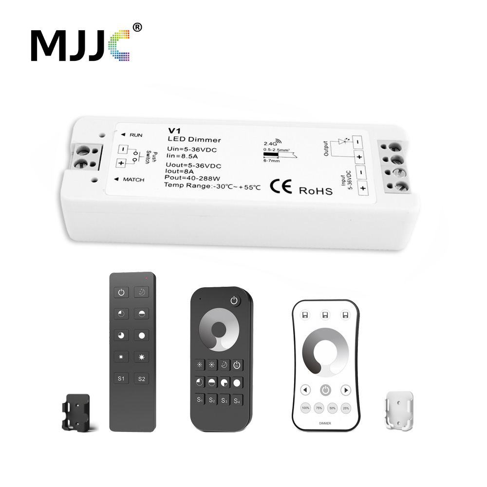 LED Dimmer 12V 5V 24V 36V 8A PWM Wireless RF LED Strip Dimmer Switch ON OFF with 2.4G Remote Controller for Single Color LED