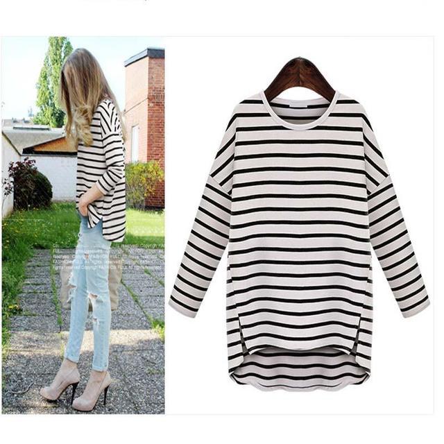 adb6a174b7f Women Girl Render Unlined Upper Garment Black And White Stripes Shirt Round  Collar Loose Sleeves Stripe