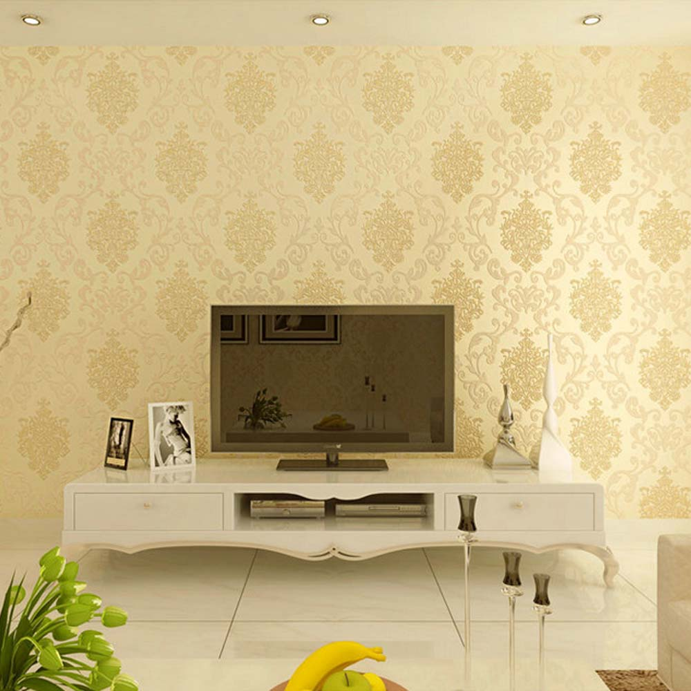 QIHANG European Style Luxury 3D Damascus Pearl Powder Non woven ...