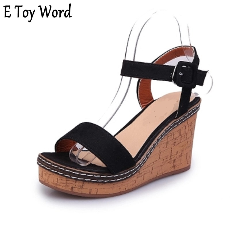 E toy word 2018 new wedge sandals whom with high-heeled increase platform sandal flat cake word buckle shoes womens shoes
