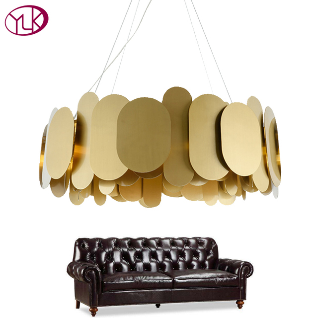 Youlaike Gold Modern Chandelier Lighting Creative Design Round Polished Steel HangLamp Luxury Dining Room LED Lustre