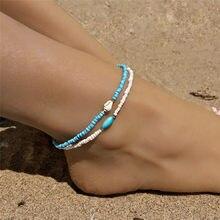 2 pçs/set Azul/Cor Branca Boho Beads Ankle Bracelet 2019 Venda Quente Shell Natural Tornozeleiras Para As Mulheres de Jóias Por Atacado Boêmio