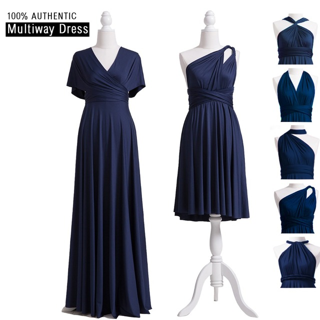 acb53a3d823 Navy Blue Bridesmaid Dress Infinity Maxi Long Dress Multiway Dress  Convertible Wrap Dress With Sleeves Style
