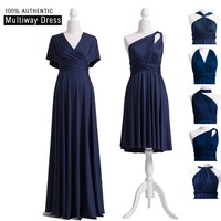 Navy Blue Bridesmaid Dress Infinity Maxi Long Dress Multiway Dress Convertible Wrap Dress With Sleeves Style