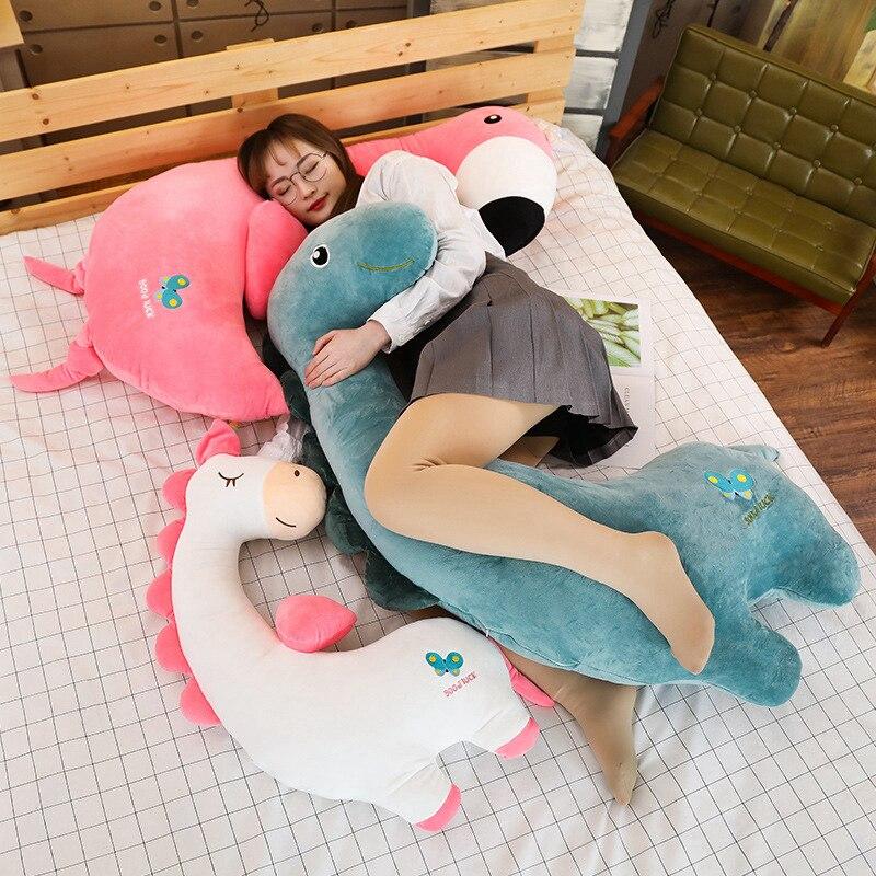 Creative Kawaii Soft Unicorn Dinosaur Flamingo Doll Stuffed Animals Lazy Sleeping Pillow Toys For Cute Girl Lover Birthday Gifts