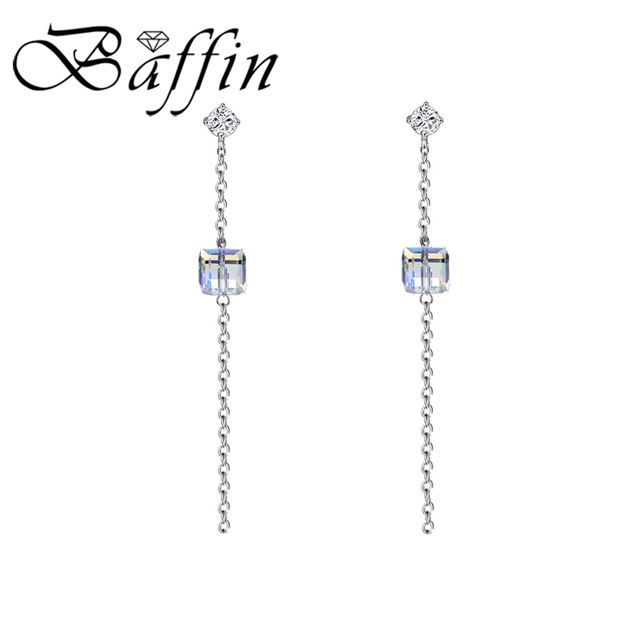 BAFFIN Long Chain Cube Beads Drop Earrings Silver Color For Women Jewelry 2018 Trendy Piercing Colorful Crystals From Swarovski