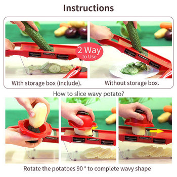 Vegetable Cutter with Steel Blade Mandoline Slicer Potato Peeler Carrot Cheese Grater vegetable slicer Kitchen Accessories 3