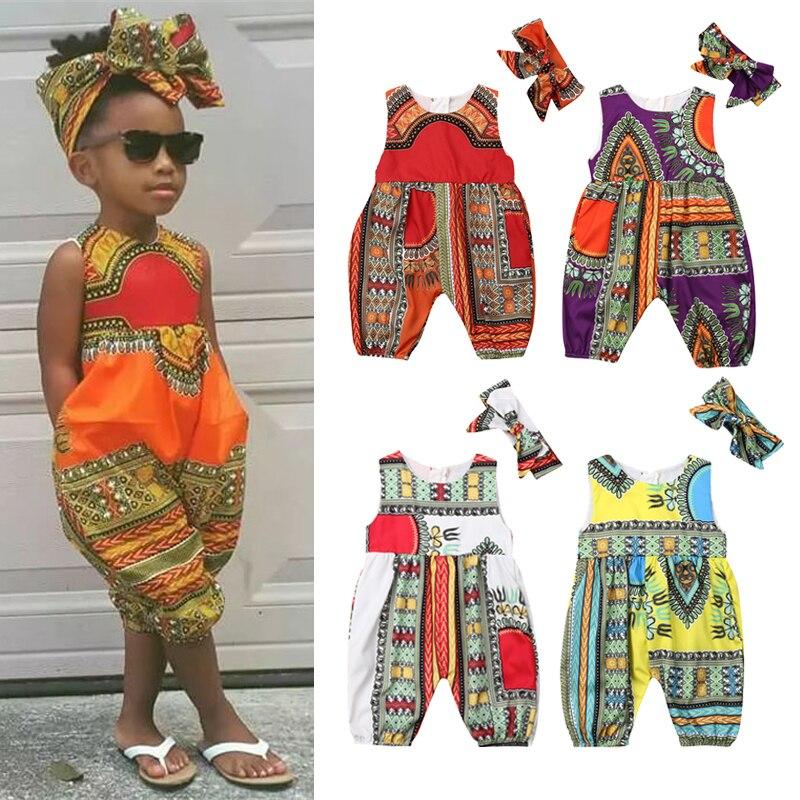 Baby Girls African Kente Print Off Shoulder Long Sleeve Romper Hair Band