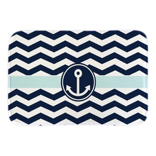 Navy Blue White Zigzag With Anchor Decor Home Doormats Soft Lightness Indoor Outdoor Door Mats Short Plush Fabric Bathroom Mats