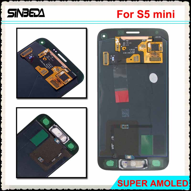 Sinbeda Super AMOLED For Samsung Galaxy S5 Mini G800 G800F LCD Screen Display+Touch Screen Digitizer Panel Assembly With Button