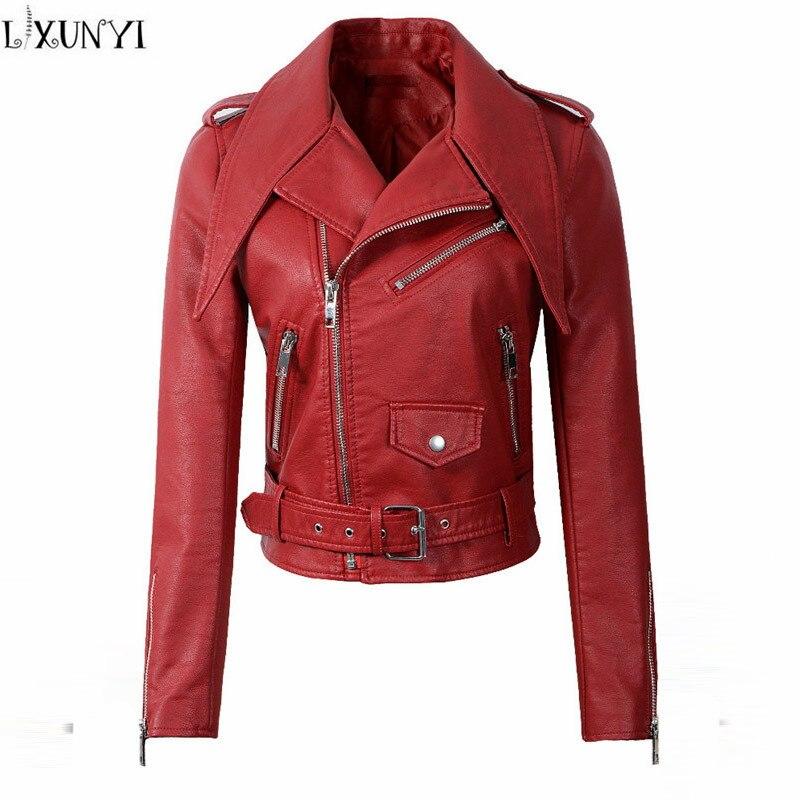 Avec Manteaux En gris Manteau Vestes Lxunyi Pu rouge Longue Ceinture Courtes  Cuir Veste Femme Slim Femmes 2018 Moto Mode Noir ... bb87178b02e6