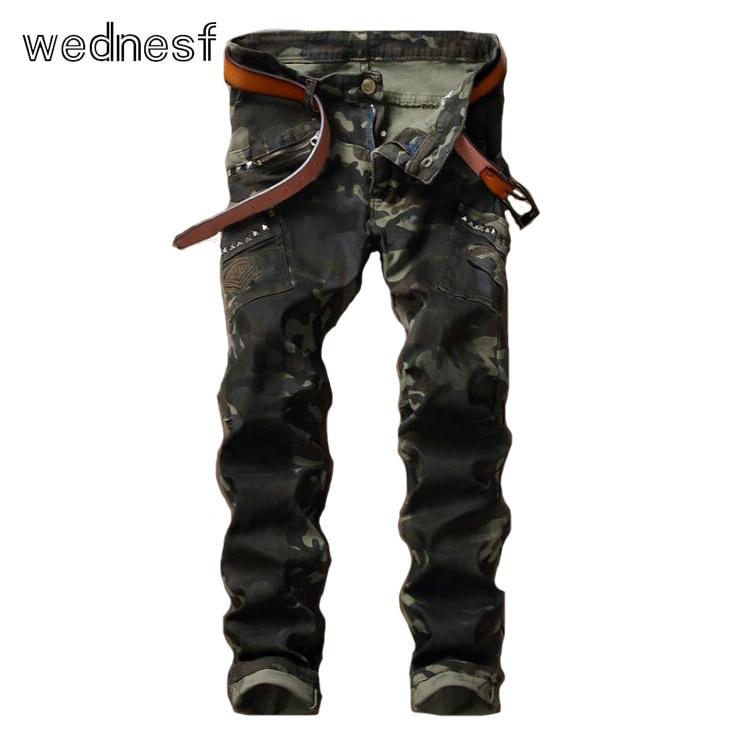 #1920 Multi-pocket Army Camouflage jeans fashion Military jeans hombre Hip hop jeans Mens biker jeans Punk Rivet Streetwear