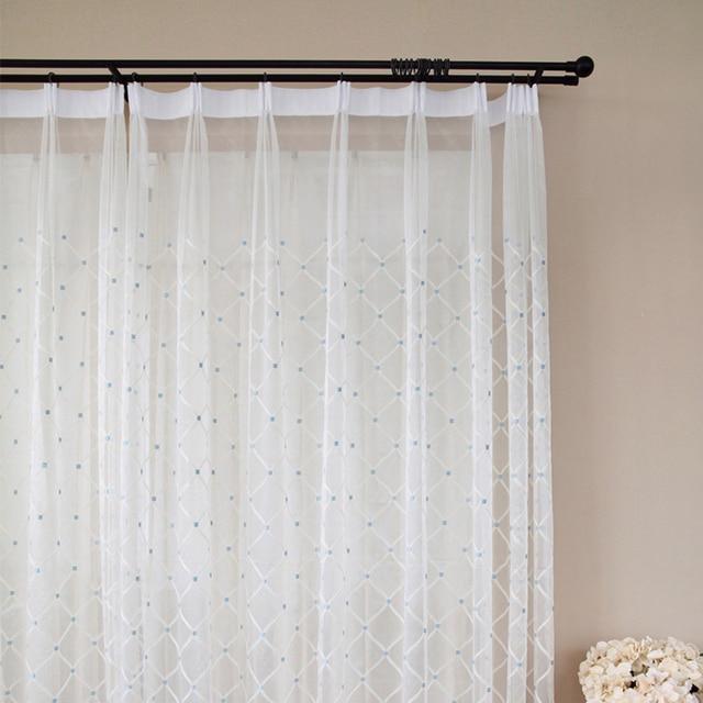 jos warme lijn geborduurde ruit sheer tulle gordijn voor woonkamer slaapkamer voile gordijnen stof gordijnen voor