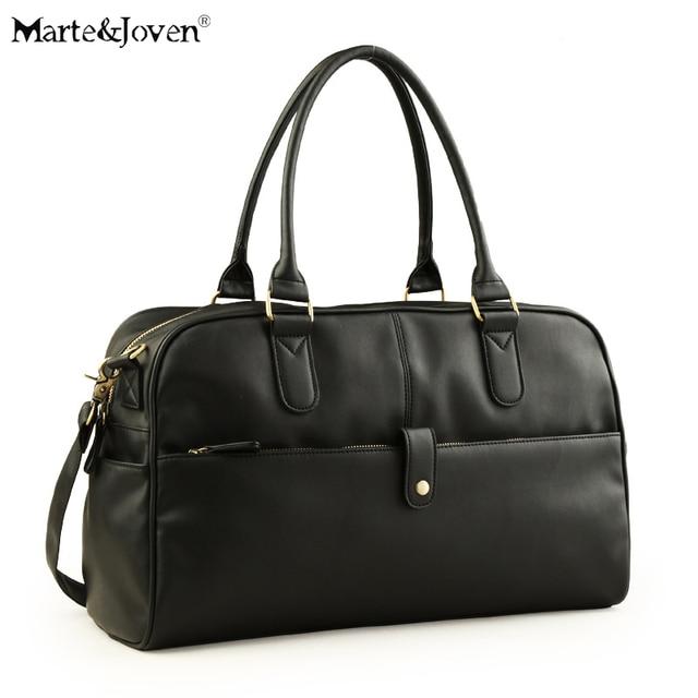 Fashion Luxury Brand Black PU Leather Duffle Bag For Men High Quality Large  Capacity Shoulder Crossbody 1fa061c5d8896