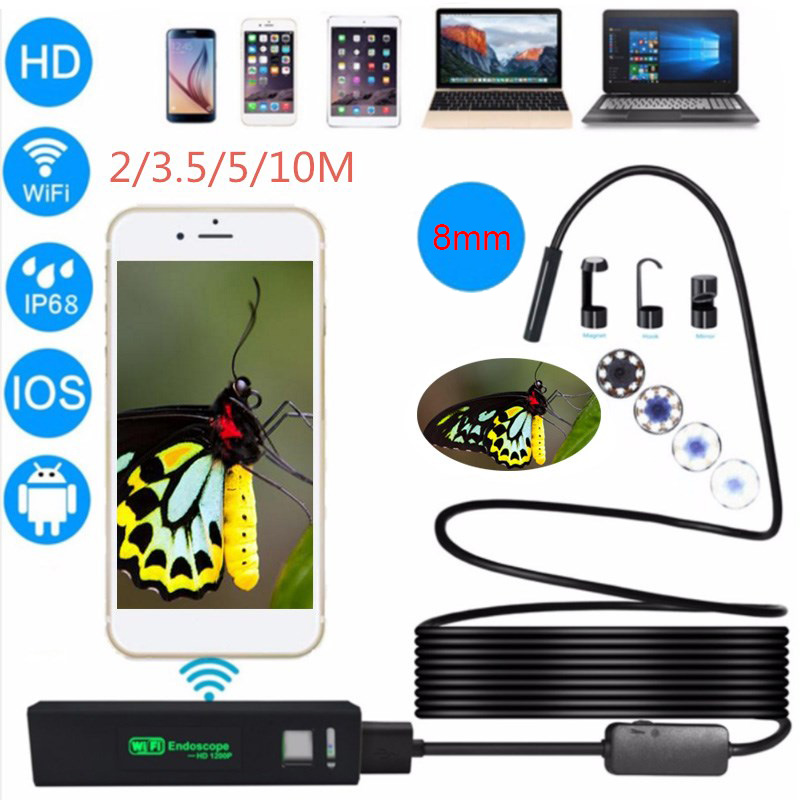 Antscope Wifi Endoscope 8mm Semi Rigid Hard Tube Android Iphone Borescope Camera Endoscopic iOS Wifi Camera antscope wifi endoscope camera android 8mm 2 0mp 720p borescope mini camera semi rigid hard tube and softwire car inspection