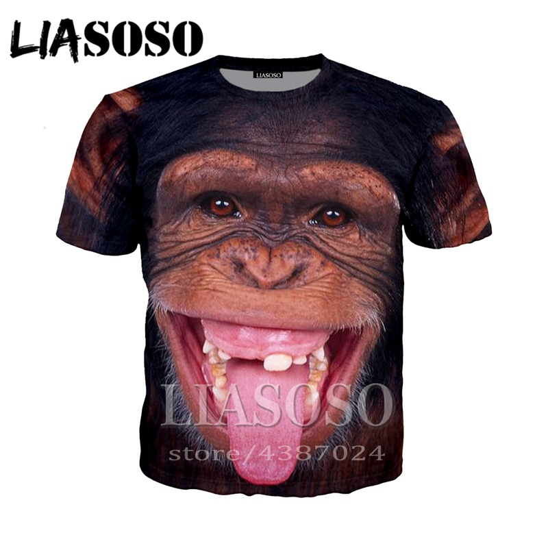 New Arrived Wolf Print Clothes Mens Spring Summer Fashion Personality Smile Monkey Printing O-neck Short Sleeve Top #c Buy Now Tops & Tees Men's Clothing