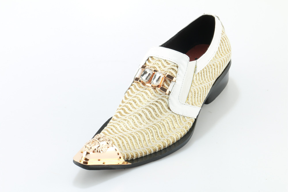 White Metal Decor Men Dress Shoes Top Leather Oxfords Slip On Mens Wedding Dress Shoes Square Toe Business Leather Shoe Flats pjcmg spring autumn men s genuine leather pointed toe slip on flats dress oxfords business office wedding for men flats shoes