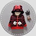 Мальчики Дети Верхняя Одежда Пальто Мода Дети Куртки для Мальчиков и девочек Зима Полосы Куртка Теплая С Капюшоном Детская Одежда